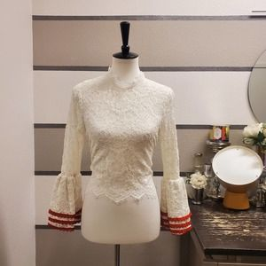 Alpha & Omega Lace Bell Sleeve Crop Top Sz S